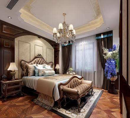 卧室, 双人床, 床头柜, 多人沙发, 床尾凳, 台灯, 吊灯, 花瓶花卉, 茶具, 欧式