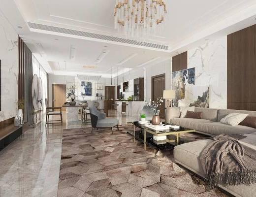 沙发组合, 吊灯, 茶几, 边几, 台灯, 装饰画, 植物