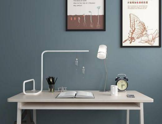 书桌椅组合, 摆件组合, 挂画组合, 现代简约