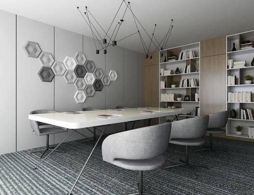 办公室, 会议室, 单人椅, 墙饰, 装饰柜, 书柜, 书籍, 摆件, 装饰品, 陈设品, 现代