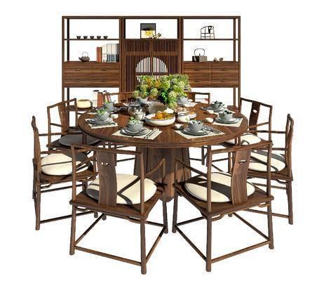 餐桌椅, 桌椅组合, 装饰柜, 新中式