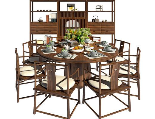 餐桌椅, 桌椅组合, 中式, 装饰柜