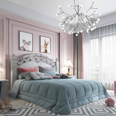 卧室, 女孩房, 床具, 双人床, 吊灯, 挂画, 装饰画, 床头柜, 台灯, 沙发凳, 抱枕, 地毯, 简欧