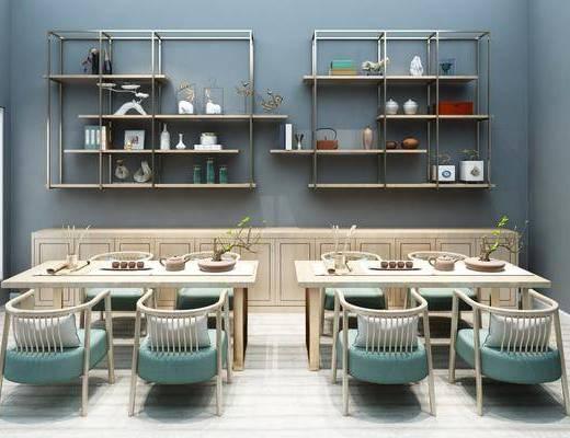 茶馆, 茶室, 茶桌, 茶椅, 单人椅, 茶具, 装饰架, 置物架, 盆栽, 矮柜, 摆件, 装饰品, 陈设品, 新中式