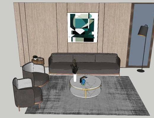 沙发组合, 茶几, 单椅, 地毯, 装饰画