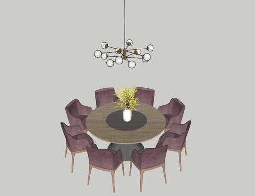 吊灯, 餐桌, 桌椅组合, 花瓶, 圆桌