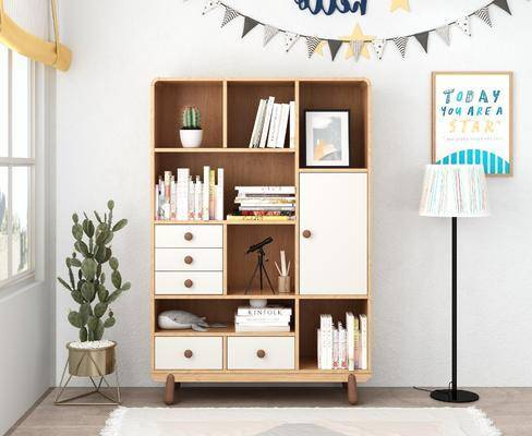 书柜, 置物柜, 落地灯, 挂画