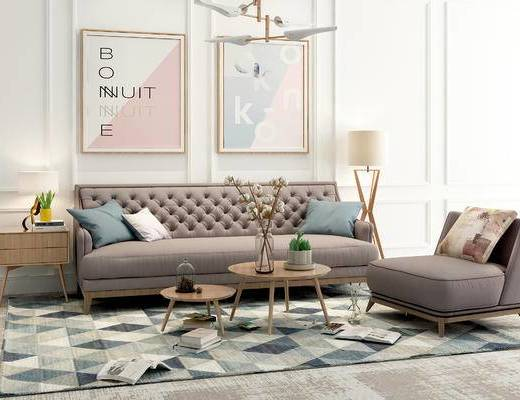 沙发组合, 茶几, 单椅, 装饰画, 落地灯, 摆件组合