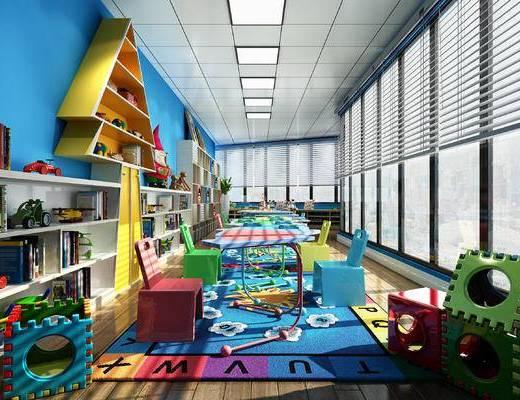 现代, 幼儿园, 现代幼儿园, 玩具, 地毯, 儿童座椅, 书架, 书柜