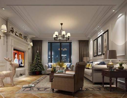 客厅, 多人沙发, 边几, 台灯, 单人沙发, 茶几, 吊灯, 装饰画, 挂画, 壁灯, 摆件, 装饰品, 陈设品, 欧式