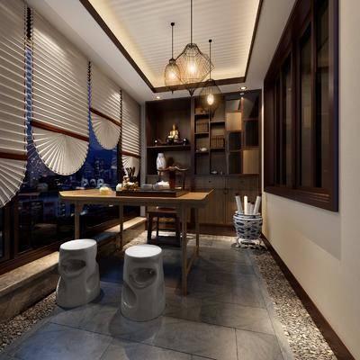 茶室, 茶桌, 单人椅, 凳子, 装饰柜, 摆件, 装饰品, 陈设品, 吊灯, 新中式