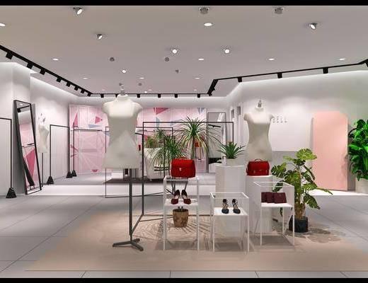 服装店, 人形模特, 展示架, 衣架