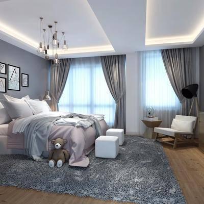 儿童房, 卧室, 现代, 现代卧室, 床, 床头柜, 台灯, 吊灯, 边柜, 装饰柜, 沙发椅, 玩具