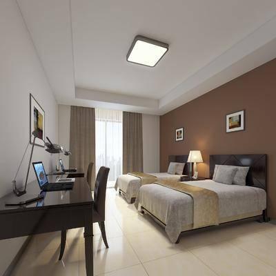 酒店客房, 现代酒店客房, 双人房, 床具组合, 单人床, 桌椅组合, 书桌, 单椅, 台灯, 挂画, 现代