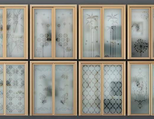 现代推拉门, 推拉门, 磨砂玻璃