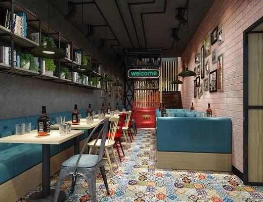 餐厅, 餐桌椅, 桌椅组合, 工业风, 墙饰, 书架