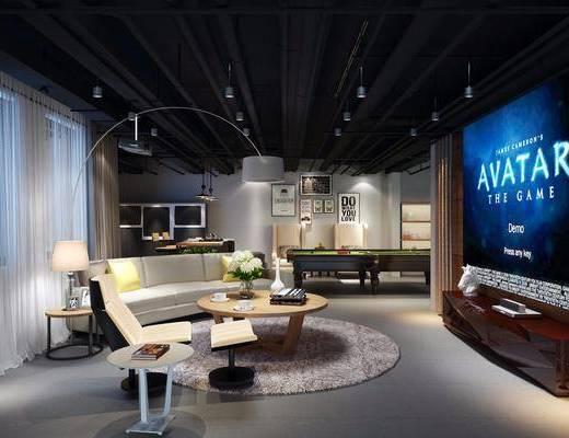 工业风影音娱乐室, 工业风, 沙发, 落地灯, 台球桌