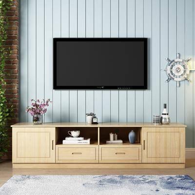 电视柜, 地中海, 花瓶, 花卉, 电视, 墙饰, 摆件, 装饰品, 书籍, 植物