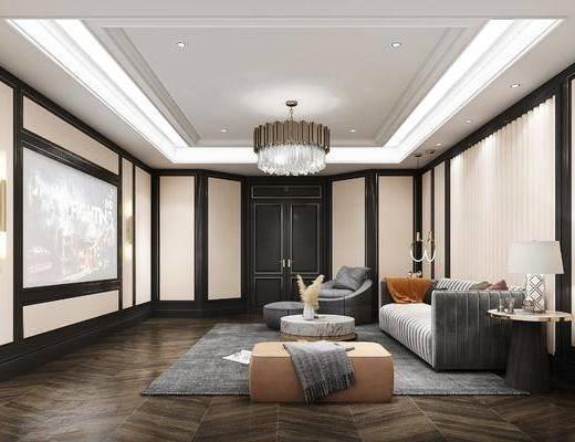沙发组合, 屏幕, 吊灯, 茶几, 单椅