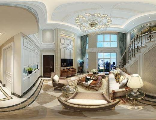 客厅, 餐厅, 家装全景, 多人沙发, 茶几, 边几, 台灯, 单人沙发, 吊灯, 电视柜, 边柜, 楼梯, 餐桌, 餐椅, 单人椅, 餐具, 欧式