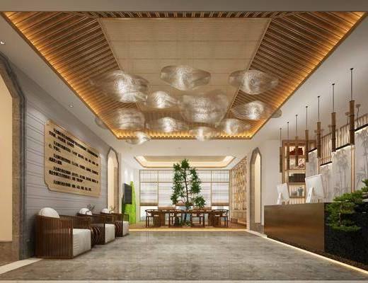 新中式大堂, 酒店大堂, 前台, 中式吊灯, 桌椅组合, 置物架, 摆件, 盆栽
