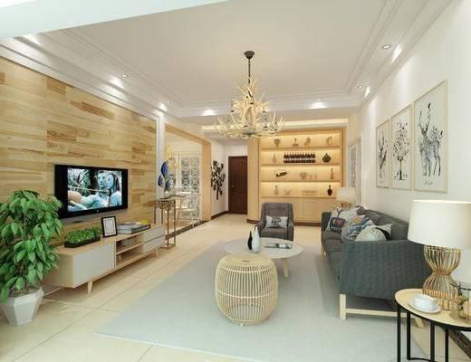 北欧客厅, 客厅, 沙发组合, 沙发茶几组合, 现代沙发