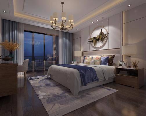 卧室, 现代卧室, 新中式卧室, 床具组合, 双人床, 床头柜, 摆件, 墙饰, 吊灯, 台灯, 装饰柜, 花瓶花卉, 单椅, 新中式, 现代