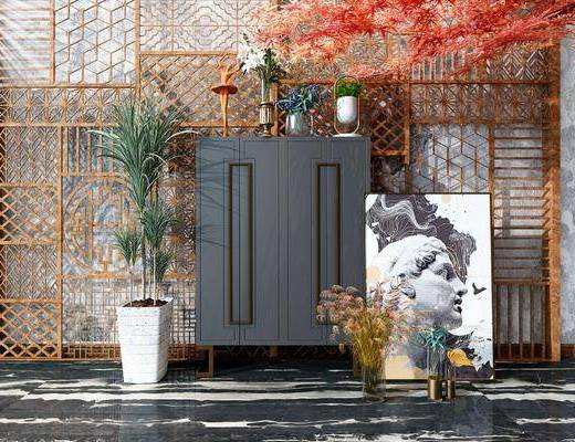 现代装饰柜, 现代摆件, 盆栽, 装饰画
