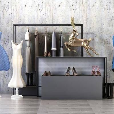 装饰柜, 服饰, 衣架, 现代