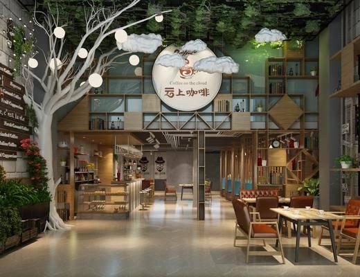 咖啡厅, 桌椅组合, 墙饰, 植物, 展示柜