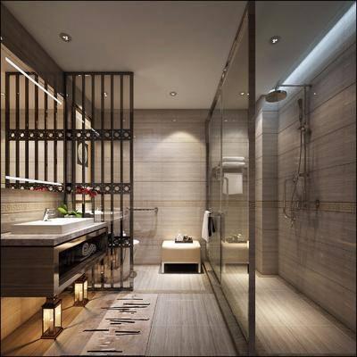 卫生间, 洗手台, 落地灯, 马桶, 花洒, 中式