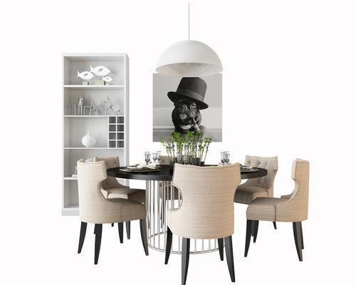 餐桌椅, 桌椅组合, 简美, 现代, 装饰柜, 装饰画