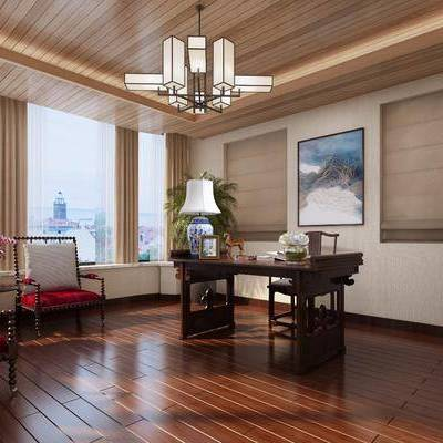 书房, 书桌, 单人椅, 单人沙发, 台灯, 茶几, 边柜, 摆件, 装饰品, 陈设品, 装饰画, 挂画, 中式
