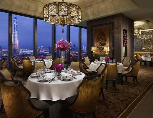 美式, 餐厅, 餐桌椅, 灯具, 墙饰