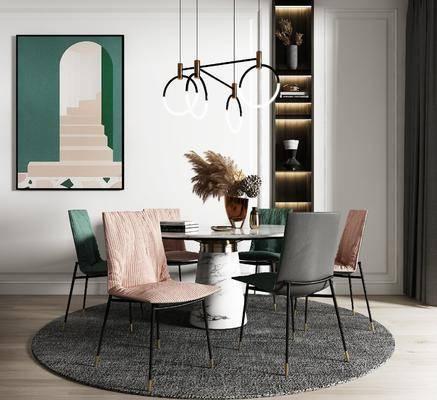 餐桌, 桌椅组合, 吊灯, 装饰画
