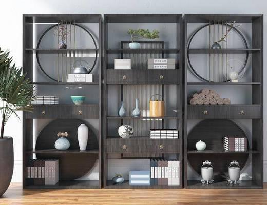 博古架, 装饰柜架, 柜架组合, 摆件组合