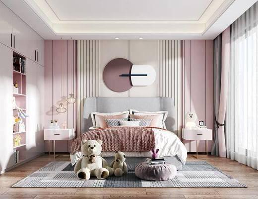 单人床, 墙饰, 床头柜, 地毯, 衣柜, 吊灯