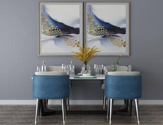 餐桌, 桌椅组合, 装饰画, 餐具组合