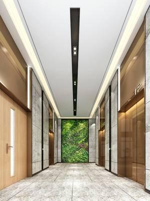电梯间, 电梯厅, 走廊, 过道, 电梯, 现代