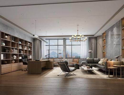 办公桌椅, 沙发组合, 博物架, 造型灯