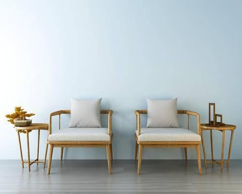 中式椅子, 椅子, 休闲椅, 茶几, 摆件