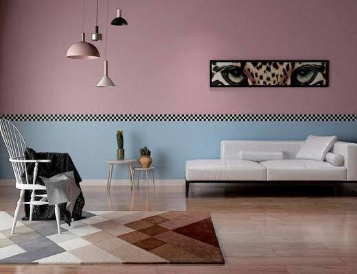 沙发组合, 北欧沙发组合, 北欧沙发, 简约沙发, 沙发凳, 单椅, 吊灯, 摆件, 装饰品, 北欧, 双十一