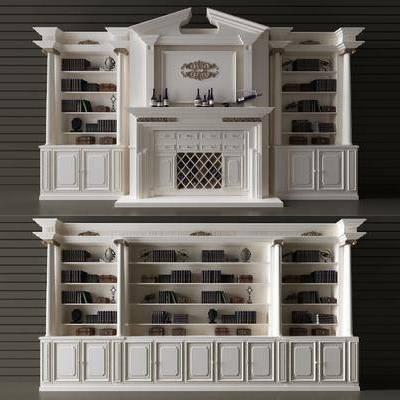 酒柜, 书柜, 书籍, 壁炉, 红酒, 美式, 古典