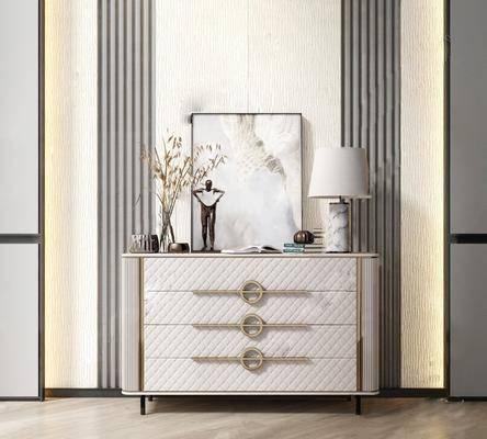 边柜, 摆件组合, 柜架组合, 台灯, 装饰画