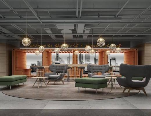 接待室, 单人沙发, 休闲沙发, 茶几, 吊灯, 单人椅, 休闲椅, 装饰柜, 装饰品, 墙饰, 凳子, 现代