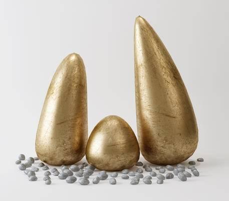 铜雕, 鹅卵石, 艺术品
