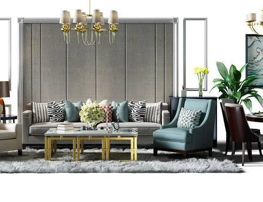 沙发组, 沙发背景墙, 背景墙, 吊灯, 沙发椅, 餐桌椅组合, 桌椅, 餐桌, 桌椅组合, 盆景, 植物, 地毯, 现代