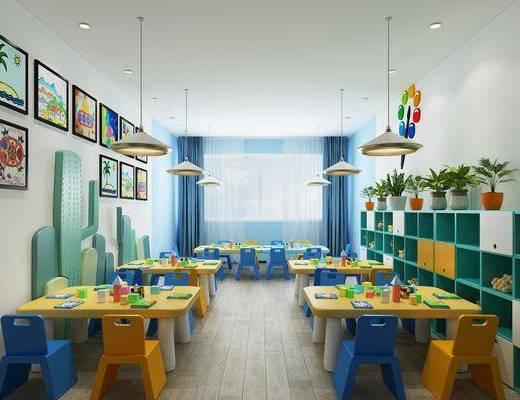 现代幼儿园, 幼儿园, 美术教室, 教室