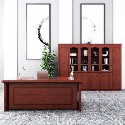 文件柜, 办公桌, 盆栽, 装饰画, 挂画, 装饰柜, 书柜, 书桌, 书籍, 现代