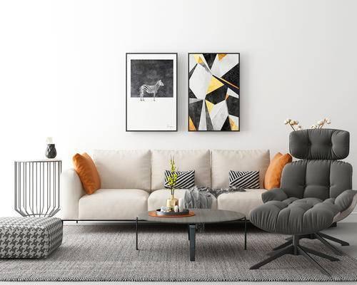 客厅, 沙发, 椅子, 茶几, 摆件, 装饰画